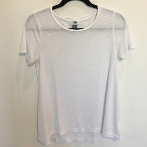 Old Navy Long Relaxed White Short-Sleeve Tee